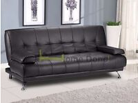 **14-DAY MONEY BACK GUARANTEE!**- Venice Luxury Leather Sofa Bed Sofabed -SAME DAY!