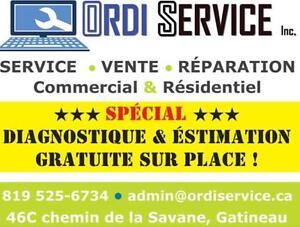 --ESTIMATION ET DIAGNOSTIQUE GRATUITS SUR PLACE--  CENTRE DE RÉPARATION LAPTOP ET DESKTOPS