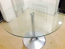 Clear Glass Dining Room Table (Round)