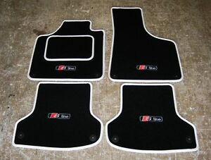 Black White Car Mats Audi A3 8p Lhd 2003 12 S Line Logos X4 Fixings Ebay