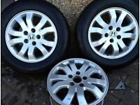 "Honda CRV 2002-06 16"" Alloy Wheels, set of four with top quality winter tyres, excellent condition"