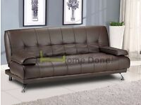 **7-DAY MONEY BACK GUARANTEE!**- Venice Premium Leather Sofa Bed Sofabed in Black Brown Red Cream!