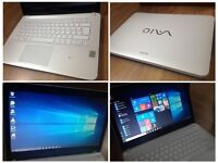 CAN DELIVER only 12 months old fast thin laptop SONY VAIO with warranty, Windows 10 Pro, was £749