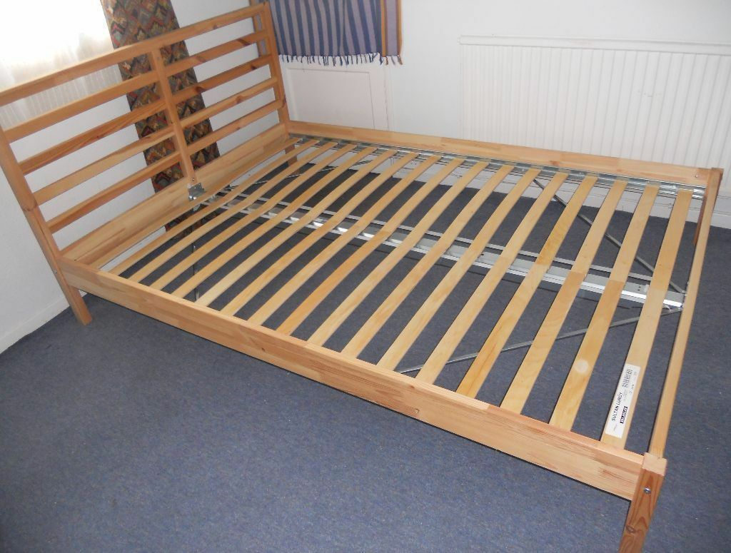 Ikea tarva double bed frame and luroy slatted base never for Double twin bed frame