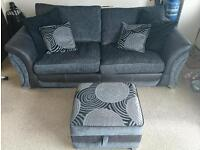 3 seater sofa/couch and storage footstool