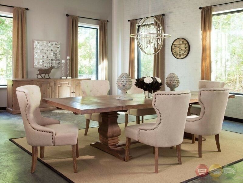 Florence Solid Mahogany And Pine 7pc Beige Dining Room Set With Natural Finish