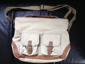 Canvas Messenger Bag, beige with leather trim - unisex. Unused.