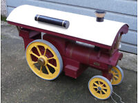"""GIANT 3' 6"""" long x 2' 6"""" tall, model Fowler Showman's Traction Steam Engine in wood. Spectacular."""