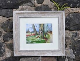 Highlands, Scotland, snowdrops - giclee print - framed and new