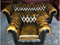Antique gold leather 3 seater Chesterfield sofa...matching chair available