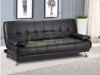 **7-DAY MONEY BACK GUARANTEE!**- Venice Luxury Leather Sofa Bed Sofabed -BRAND NEW!