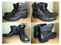 BENCH - Black Leather Boots - UK Size 12 - Great Condition - Hardly Used.