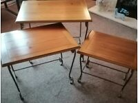 Solid wood and patinated metal nest of 3 tables