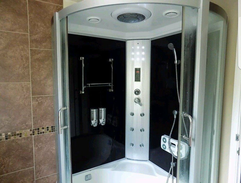 STEAM SHOWER ENCLOSURE WITH CORNER BATH WATERFALL TAP MASSAGE AND ...