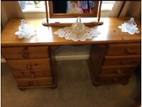 Solid Pine Dresser with Mirror and bedside table