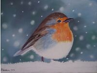 WILDLIFE PAINTING OF A ROBIN