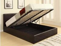 【SINGLE ,DOUBLE & KING】LEATHER OTTOMAN STORAGE BED SINGLE DOUBLE KINGSIZE BLACK LEATHER OTTOMAN