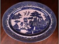 Blue Willow Platter Dining Plates and Gravy Jugs