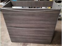 New Free Standing Two Drawer Vanity Unity Avola In Brown / Grey Soft Close Drawers