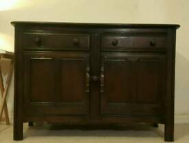 Mid Twentieth Century Ercol Old Colonial Dark Finish Small Solid Oak Sideboard