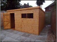 HEAVY DUTY PENT GARDEN STORAGE SHED QUALITY TIMBER FULLY ASSEMBLED 10x8 FT NEW