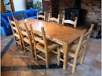 7ft X 2.6ft Solid Pine Farmhouse Dining Table + 8 Chairs