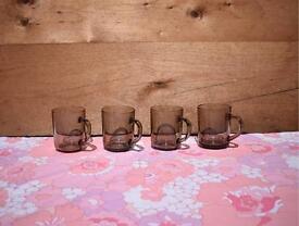 Arcopal & Arcoroc Smokey Mugs 2 of each retro vintage