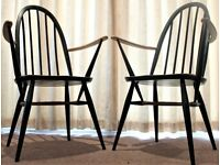 Ercol Windsor Quaker carver Dining Chairs Mid century 60's model