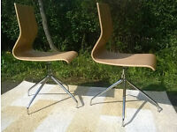 2 x Ex-display John Lewis Bentwood Oak Swivel Chairs