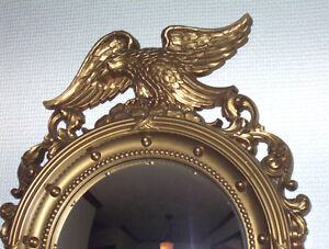 Vtg-SYROCO-Eagle-Convex-Wall-Mirror-Round-Nautical-Porthole-Bulls-Eye-Military