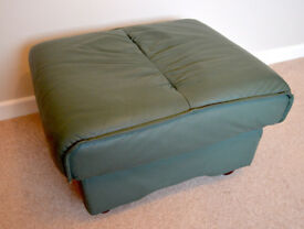 Dark Green Olive Large Rectangle Leather Padded Footstall Poof Pouffe Ottoman