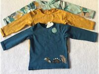 BNWT Next Baby Boy Three Long Sleeve Tops 12 - 18 Months