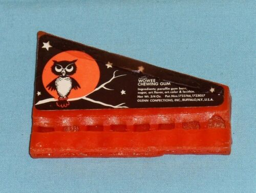 vintage Halloween WOWEE CHEWING GUM WHISTLE harmonica Glenn Confections owl