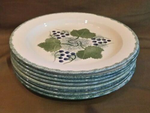 "Poole Pottery England Vineyard Breakfast Salad 9"" Plate Set of 8"