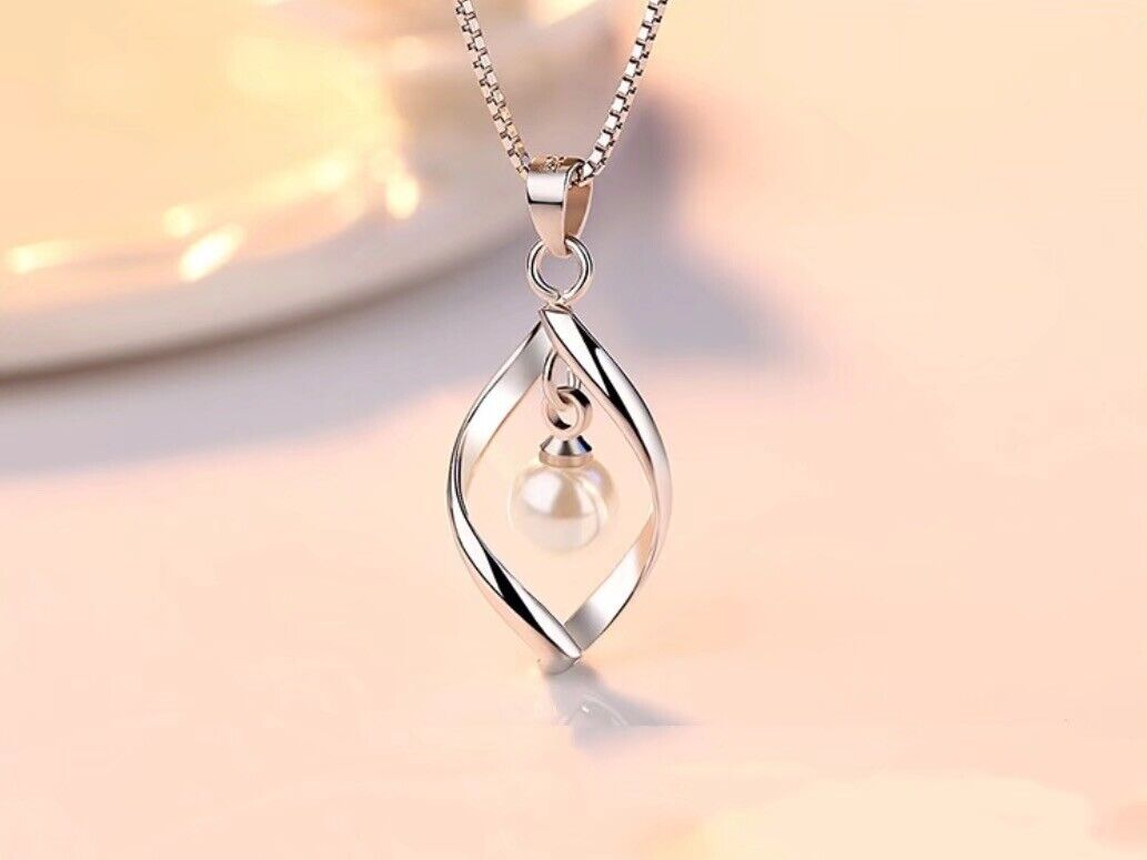 Jewellery - 925 Sterling Silver Twisted Pearl Pendant Chain Necklace Womens Ladies Jewellery