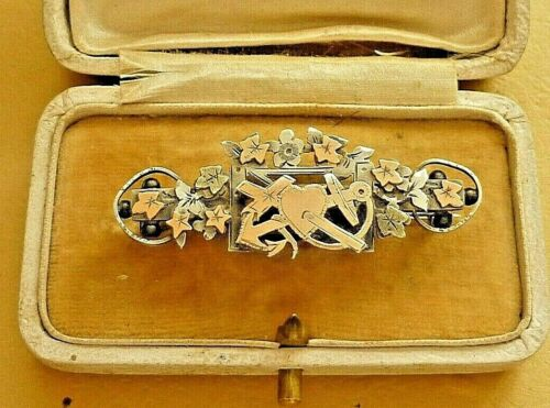 ANTIQUE VICTORIAN HALLMARKED SILVER & GOLD BROOCH FAITH HOPE & CHARITY c1901