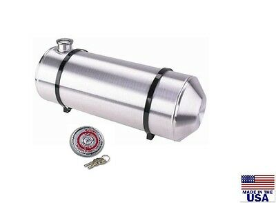 8x24 END FILL SPUN ALUMINUM GAS TANK - 5 GALLON - WITH LOCKING GAS CAP - Trike