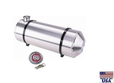 10x26 End Fill Spun Aluminum Round Gas Tank - 9 Gallon - WITH LOCKING GAS CAP