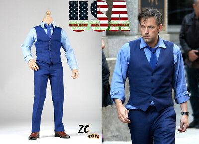 1 6 Ben Affleck Blue Suit Set For Bruce Wayne 12  Hot Toys Phicen Figure  Usa