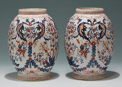 A Pair of Dutch Handpainted Vases - 19th. C.          #17461
