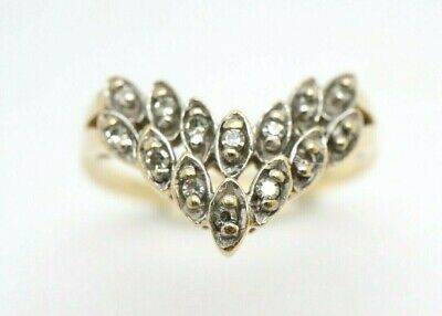 Vintage Millennium HM 9Ct Gold Two Row Diamond Wishbone Ring, Size O 1/2