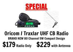 Oricom / Traxlar UHF CB Radio 80Ch 5W Compact Design Optional Ant Port Adelaide Port Adelaide Area Preview