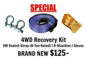 4WD Recovery Kit 9M Snatch Strap (8T Rated) / D-Shackles / Gloves Port Adelaide Port Adelaide Area Preview