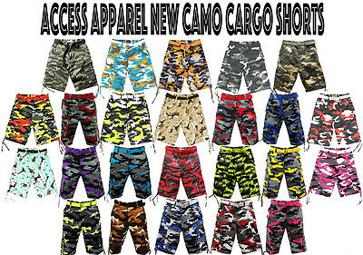 NWT MEN ACCESS (STREET/ALL PRO) 24 DIFFERENT COLORS OF CAMO CARGO SHORTS AS1531