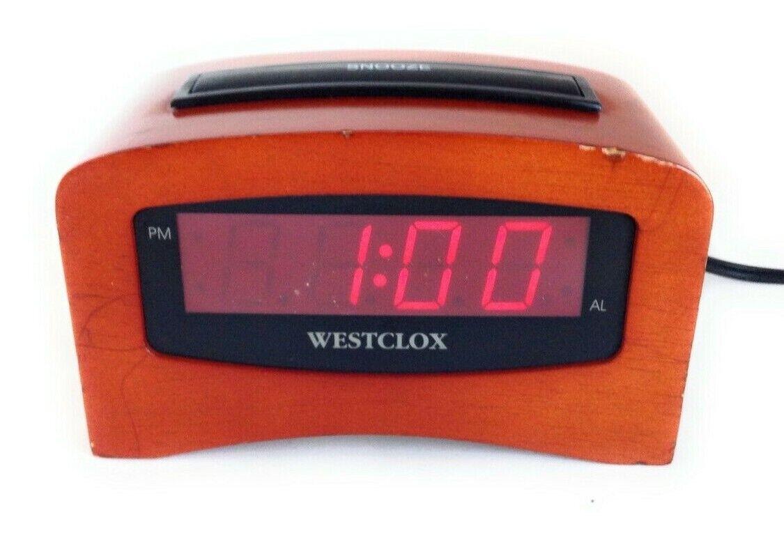 Rare Westclox 49817 Alto Cherry Wood LED Alarm Clock