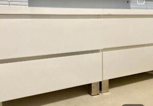 2 High Gloss 2 drawers / bedside table white