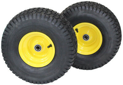 - (Set of 2) 15x6.00-6 Tires & Wheels 4 Ply for Lawn & Garden Mower Turf Tires