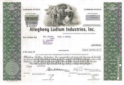 Allegheny Ludlum Industries > 1978 Pittsburgh, PA Steel old stock certificate