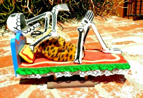 DAY OF THE DEAD RECLINING LADY LEOPARD SUIT PAPER MACHE HAND MADE MEXICO CITY