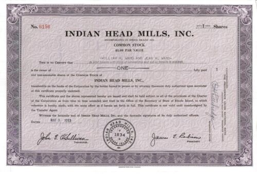 Indian Head Mills, Inc. > 1953 Rhode Island old stock certificate share